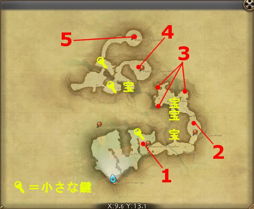 FF14のダンジョン『盟友支援 ブレイフロクスの野営地(ハード)』の全体マップです。