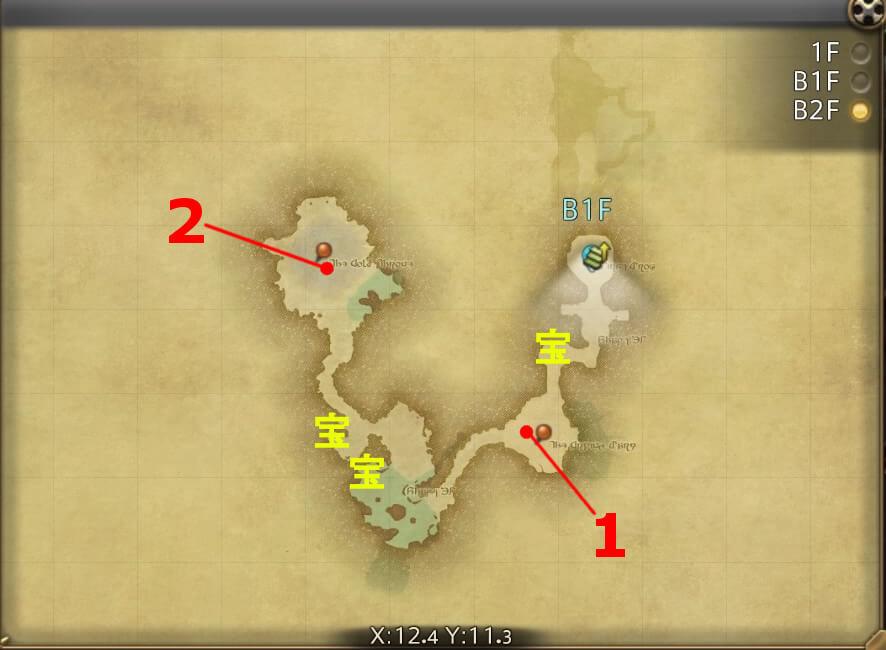 FF14のダンジョン『騒乱坑道 カッパーベル銅山(ハード):B2F』の全体マップです。