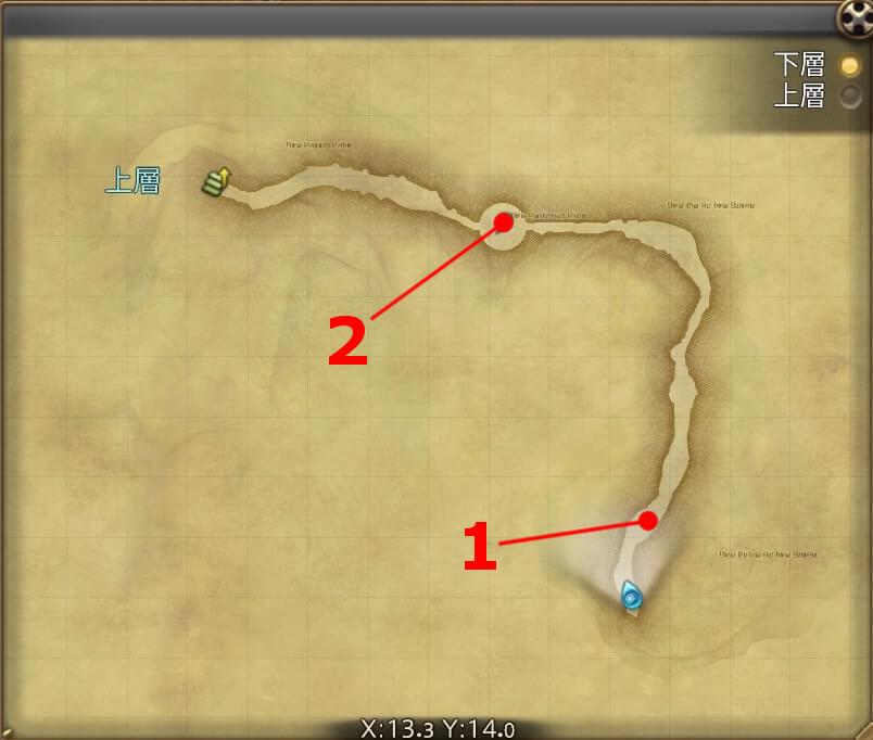FF14の漆黒ダンジョン『グルグ火山:下層』の全体マップです。
