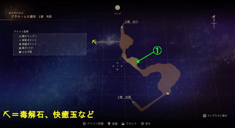 マップ『アウローム大瀑布:上層 外部』