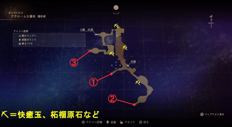 マップ『アウローム大瀑布:瀑布域』